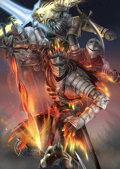 shen one, chosen undead, gwyn lord of cinder, soul of cinder, and undead hero (dark souls, dark souls ii, dark souls iii, and souls (from software)) drawn by elrem