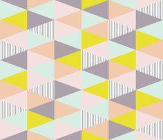 triangle quilt cloth - pastel/purple/stripe fabric by seekatesewfabric on Spoonflower - custom fabric