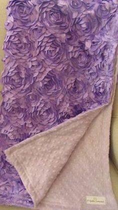 Lilac satin rosette and lavender minky dot baby by agraceunlimited