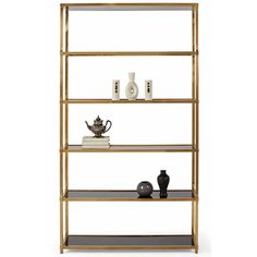 Emily Hollywood Regency Patinated Brass Gloss Black Etagere (¥299,180) ❤ liked on Polyvore