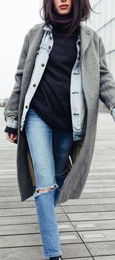 trendy fall outfit | coat + denim jacket + sweater + rips