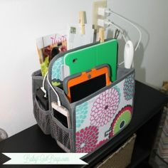"Thirty One Double Duty Caddy is ""doubling"" as a family charging station! www.mythirtyone.com/lemellcobbs"