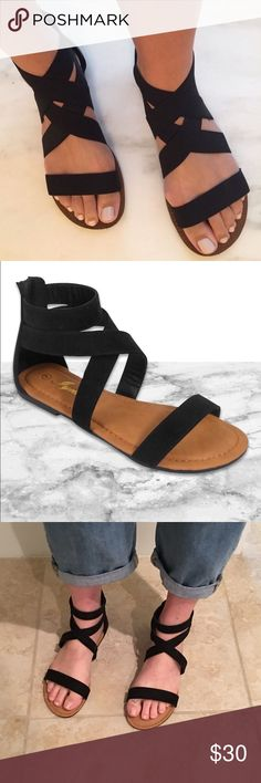 LAST❣️Black Strappy Wrap Sandal with Zipper Back Black Strappy Wrap Sandal with Zipper Back. Super comfy and perfect for Summer! Size down half size running a little big. New in Box. No Trades. Price is FIRM Unless Bundled! GlamVault Shoes Sandals