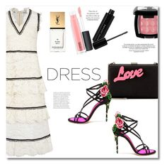 """""""Dress"""" by vkmd ❤ liked on Polyvore featuring self-portrait, STELLA McCARTNEY, MAC Cosmetics, Dolce&Gabbana, Marc Jacobs, NYX and Yves Saint Laurent"""