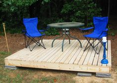 My stepfather needed a deck at his duplex that wasn't permanent, and was relatively cheap. I put this together in a couple of hours for about a hundred dollars.