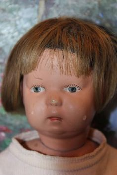 "14"" tall Schoenhut Wood child, Toddler doll, Original wig, great body! 1930's"