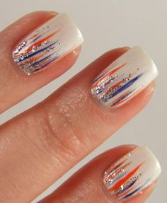 Simple and Easy Ombre Waterfall Nails Ideas Simple and Easy Ombre Waterfall Nails Ideas,Nailart Simple and Easy Ombre Waterfall Nails Ideas nail designs nails ideas ideas for winter nail art nail designs Simple Nail Designs, Nail Art Designs, July 4th Nails Designs, Silver Nail Designs, 4th Of July Nails, Hair And Nails, My Nails, Football Nails, Denver Broncos Nails