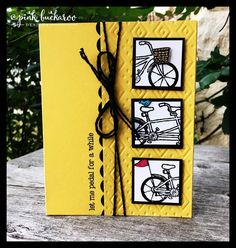 2016 Stamps: Pedal Pusher (Free with a $50 purchase) Colors: Daffodil Delight, Basic Black, Melon Mambo and Tempting Turquoise Tools: Big Shot and Boho Chic Embossing Folder, Cutie Pie Thinlit Collection (Scallop Border) Embellishments: Melon Mambo/Basic Black Baker's Twine, pulled apart