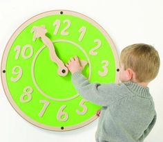 Now children can play and learn from the Giant Clock Wall Toy. With its bright colors and large wiggle hands, children will gravitate towards the toy to have their chance to play. Call out a particular time and see if kids can make the clock wall toy present the same time. You can even transform teaching into a fun game to pass along time in waiting rooms. #playscape #sensoryedge #walltoy http://www.sensoryedge.com/giant-clock-wall-toy.html