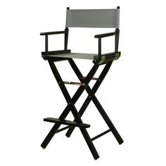 Casual Home 30'' Black Finish Director's Chair Bar Stool, Grey