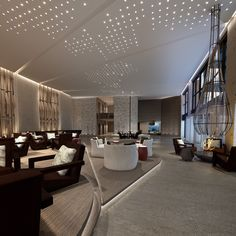 Lighting Design : LED Lighting Ideas for a Contemporary Lobby Lounge Design, Design Hotel, Lounge Bar, Hotel Lounge, Lobby Design, Lobby Lounge, Lobby Interior, Interior Lighting, Lighting Design