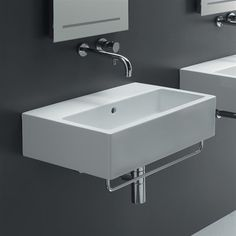 Bissonnet 20150-ST Area Boutique Ice 60 Wall Mount Bathroom Sink without Faucet Holes