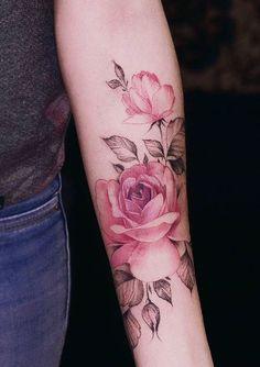 Watercolor Pink Rose Tattoo