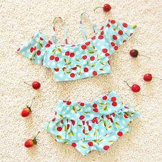 Actionclub bebê conjuntos 2016 marca new bonito das crianças das crianças swimwear xs biquíni maiô impressão cereja maiô kw050