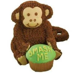 Baby Chimp's Ready to Chomp! mini cake. Wish I had more talent... this is super cute!