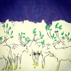 A herd of reindeer by Eriko Hirabayashi