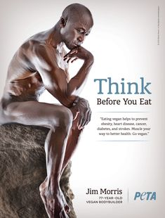 78-year-old #vegan #bodybuilder Jim Morris urges fellow humans to 'THINK Before You Eat' in his new #PETA ad.