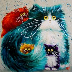 Cat DIY Oil Painting Numbers Abstract Acrylic Paint Animal Color Cats Decorative Canvas Painting Coloring By Number Drawing Cat Colors, Bright Colors, Cross Paintings, Cat Paintings, Resin Paintings, Here Kitty Kitty, Sleepy Kitty, Cat Drawing, Whimsical Art