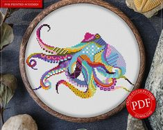 Mandala Octopus Cross Stitch Pattern for Instant Download - 295| Lovely Cross Stitch| Room Decor| Needlecraft Pattern| Easy Cross Stitch