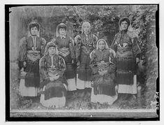Portrait of six Macedonian women in traditional costumes, village Negochani (Niki) Folk Costume, Costumes, Joseph, Bulgarian, Fringes, Historical Photos, Old Photos, Folk Art, Greece