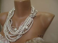 Bold Bridal Wedding necklace ,Handmade,chunky layered  pearl ,seed bead,crystal chain,rhinestone cylinder chain precious  necklace.. $89.00, via Etsy.