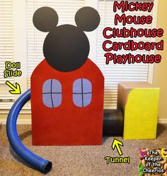 mouse crafts Mickey Mouse Clubhouse Cardboard Playhouse Life size Playhouse- With Attached Doll Slide (the up-slide from the show) Addie just absolutely loves Mickey Mouse, and after crea Mickey Mouse Clubhouse Birthday Party, Mickey Mouse Parties, Mickey Party, Mickey Mouse Birthday, 2nd Birthday, Birthday Parties, Kid Parties, Birthday Ideas, Mickey Mouse Bedroom