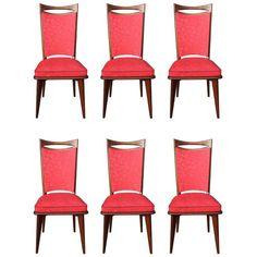 Set of Six French Art Deco / Art Modern Mahogany Dining Chairs, circa 1940s 1