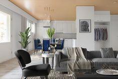 Harmaa on ajattoman tyylikäs sävy kodin tekstiileissä ja huonekaluissa. Tämä olohuoneja ruokailutila löytyvät Hollolan keskustan läheisyydetsä osoitteesta Oravapiha 3. Conference Room, Table, Furniture, Home Decor, Decoration Home, Room Decor, Tables, Home Furnishings, Home Interior Design