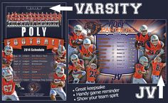 Does your school need a custom football schedule poster like the one we created for Polytechnic (aka Poly) School in Pasadena, CA for the 2014 season? After the season is over, it serves as a great keepsake to remember the season, the good times, and all the memories. It's a win-win! Memories made special…forever!