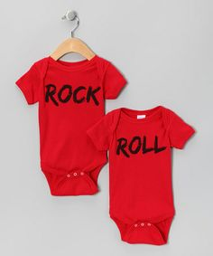 Look at this #zulilyfind! Red 'Rock' & 'Roll' Bodysuit Set - Infant #zulilyfinds