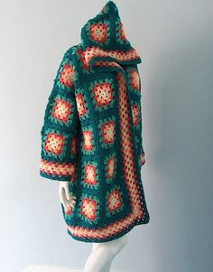 Crocheted Granny Square Jacket with Hood