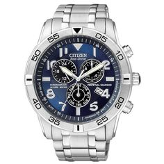 Citizen BL5470-57L Men's Eco-Drive Blue Dial Stainless Steel Perpetual Calendar Chronograph Watch