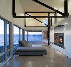 Sunset Rock House by Mackay-Lyons Sweetapple Architects Minimalist Room, Minimalist Home Decor, Nova Scotia, Coastal Living Rooms, Living Spaces, Condo Living, Porches, Interior Architecture, Interior Design