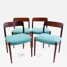Four Niels Otto Moller Teak Dining Chairs for JL Moller Denmark 1954 by Niels Otto Møller Garden Furniture, Modern Furniture, Furniture Chairs, Scandinavian Modern, Dining Chairs, Patio, Teak, Design, Home Decor
