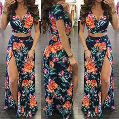 Stylish High Slit Floral Print Maxi Dress Set