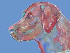 Labrador Print Dog Red Labrador Colorful by OjsDogPaintings #labrador #dog #art…