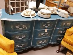 French Country dresser painted in Aubusson Blue, dry brushed in white, with clear wax.