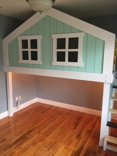 Playhouse Loft Bed, Kids Indoor Playhouse, Loft Bed Plans, Build A Playhouse, Treehouse Loft Bed, Ideas Hogar, Kids Bunk Beds, Loft Beds, Big Girl Rooms