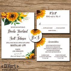 Wedding Invitation Suite, Response Card, Details, Monogram - PRINTABLE files - rustic wedding, barn wedding, sunflower, leaves - Brooke by DIVart on Etsy