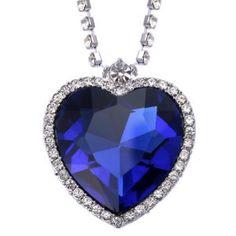 VIKI LYNN Bijoux Coeur Collier Femme Coeur de l'Océan du film Titanic en Cristal Bleu et Transparent avec une chaîne plaquée Or Blanc 18…
