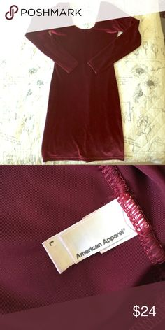 """Beautiful velour fitted mini dress. Burgundy and velour, perfect for Christmas parties! Comes right above knee. Runs small. I'm 5'4"""", 135 pounds and normally wear small or medium. American Apparel Dresses Midi"""