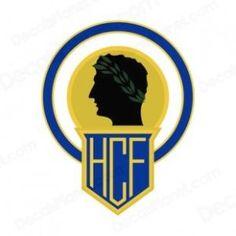 HCF Malaga #logo #espana #spanish #football Football Team Logos, Ferrari Logo, Soccer, Malaga, Badges, Football Team, Cards, Xmas, Futbol