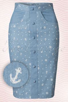 Dancing Days by Banned - 50s Sweet Talker Sailor Skirt in Denim Blue
