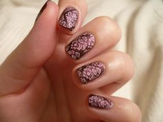 Some baroyue stamping over ILNP Black Orchid. Used MoYou Fashionista 08