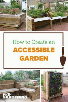 Tips for designing an accessible garden for wheelchairs and other physical limitations. Eco Garden, Garden Yard Ideas, Garden Types, Garden Planters, Garden Projects, Lake Garden, Garden Trellis, Garden Care, Outdoor School