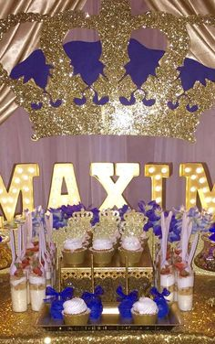 Gold and blue royal prince birthday party! See more party ideas at CatchMyParty.com!