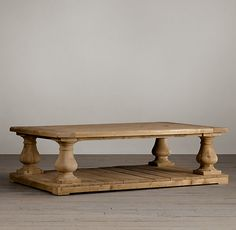 """Balustrade Salvaged Wood Coffee Table.   We like the """"salvaged/reclaimed wood"""" look. We will likely need a large coffee table at least 4-5 feet in diameter for the living room."""
