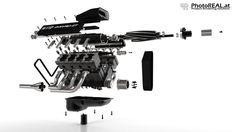 Explosionsdarstellung eines Motors http://www.photoreal.at