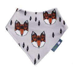ORGANIC Baby Bandana Dribble Bib in GEOMETRIC Orange Fox Heads Gift Idea from BellaOski by bellaoski on Etsy