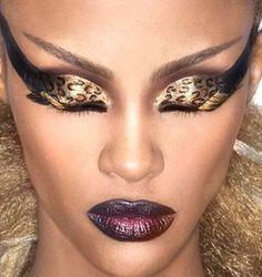 Leopard Skin Eyeshadow, Blackened Raisin Lips. Editorial Makeup.